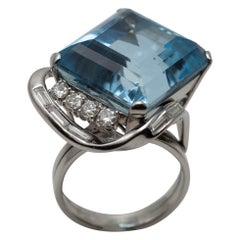 Platinum Custom Made Aquamarine and Diamond Ring