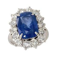 Platinum Custom Made Cushion Cut Blue Sapphire 6.83cts and Diamond Estate Ring