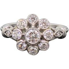 Platinum Daisy Brilliant Cut Diamond Art Deco Style Cluster Ring