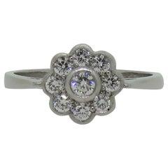 Platinum Daisy Diamond Art Deco Style Cluster Ring