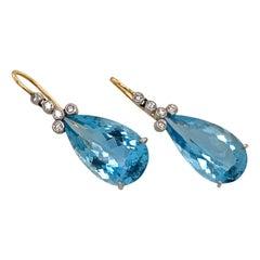 Platinum Dangle Drop Aquamarine Diamond Earrings