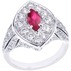 "Platinum ""Deco"" Diamond and Marquise Ruby Ring"