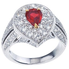 "Platinum ""Deco"" Diamond and Ruby Ring"