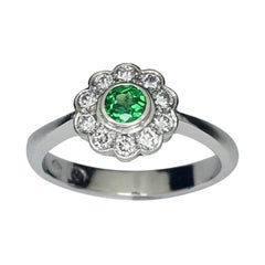 Platinum Demantoid Diamond Cluster Ring