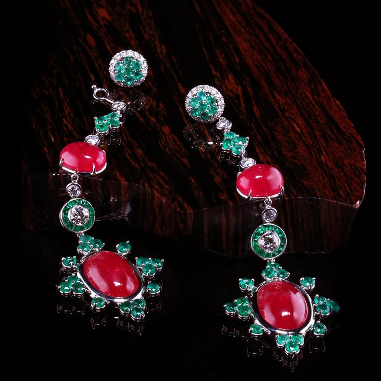 Contemporary Platinum Detachable Drop Earrings with Rare Gem Rhodonites Emeralds and Diamonds For Sale