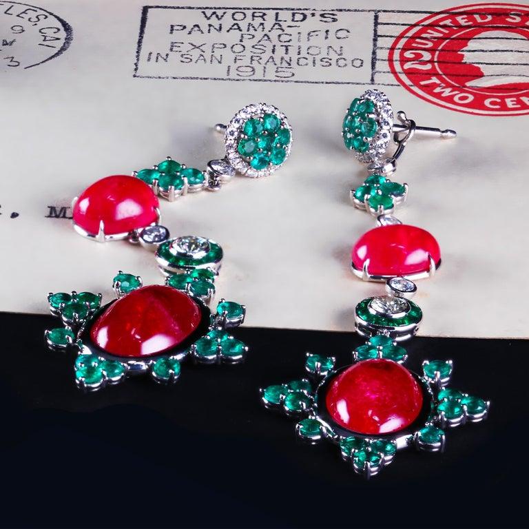 Women's Platinum Detachable Drop Earrings with Rare Gem Rhodonites Emeralds and Diamonds For Sale