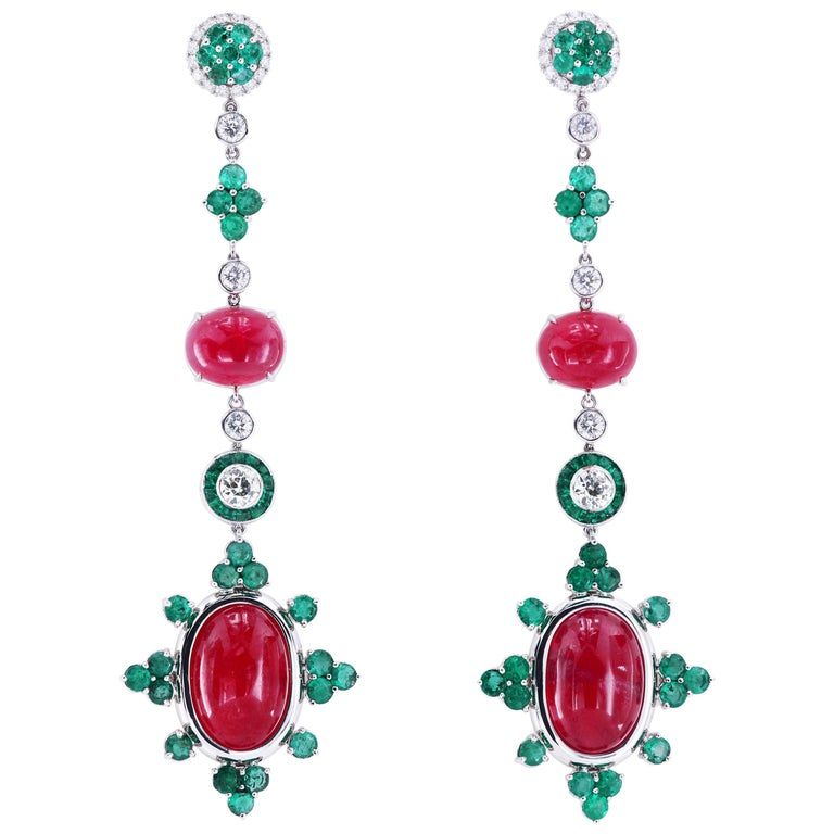 Platinum Detachable Drop Earrings with Rare Gem Rhodonites Emeralds and Diamonds For Sale