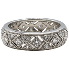 Platinum Diamond 0.55 Carat Filigree Eternity Wedding Band Ring