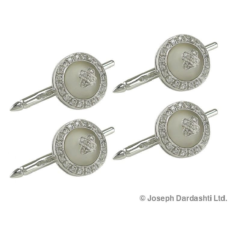 Platinum diamond with the total weight of 0.63 carat accented by frosted crystal cufflinks