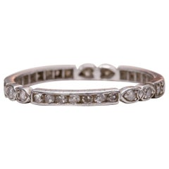 Platinum Diamond .37 Carat Eternity Art Deco Stackable Vintage Wedding Band