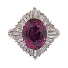 Platinum Diamond 5.71 Carat Tourmaline Ring
