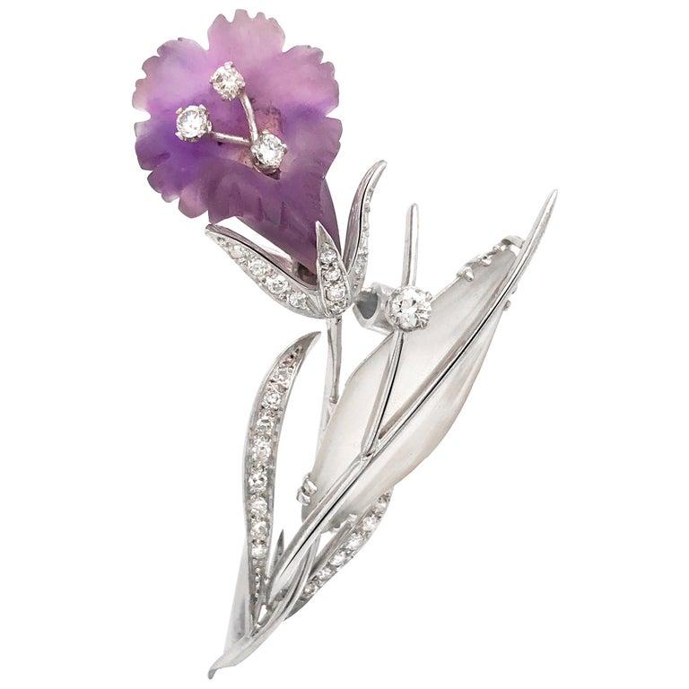 Platinum, Diamond, Amethyst and Rock Crystal Floral Motif Brooch For Sale
