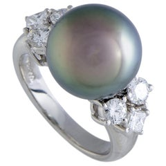 Platinum Diamond and Black Pearl Ring