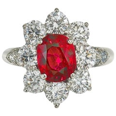 Platinum Diamond and 2.54 Carat Burma Ruby Ring