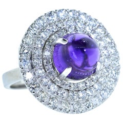 Platinum, Diamond and Amethyst Ring