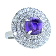 Platinum, Diamond and Amethyst Ring