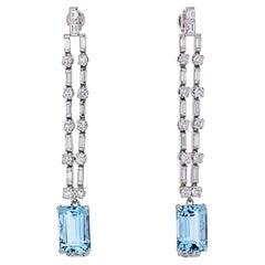 Platinum Diamond and Aquamarine Cascade Dangling Earrings