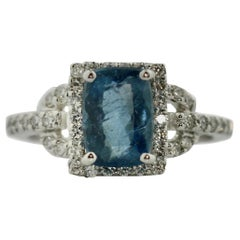 Platinum, Diamond and Aquamarine Ring