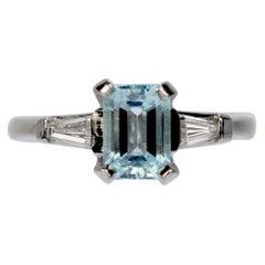 Platinum, Diamond, and Aquamarine Three-Stone Cocktail Ring