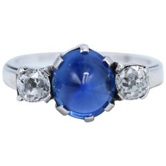 Platinum, Diamond and Blue Cabochon Sapphire Ring