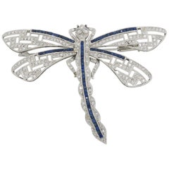 Platinum Diamond and Blue Sapphire Dragon Fly Brooch