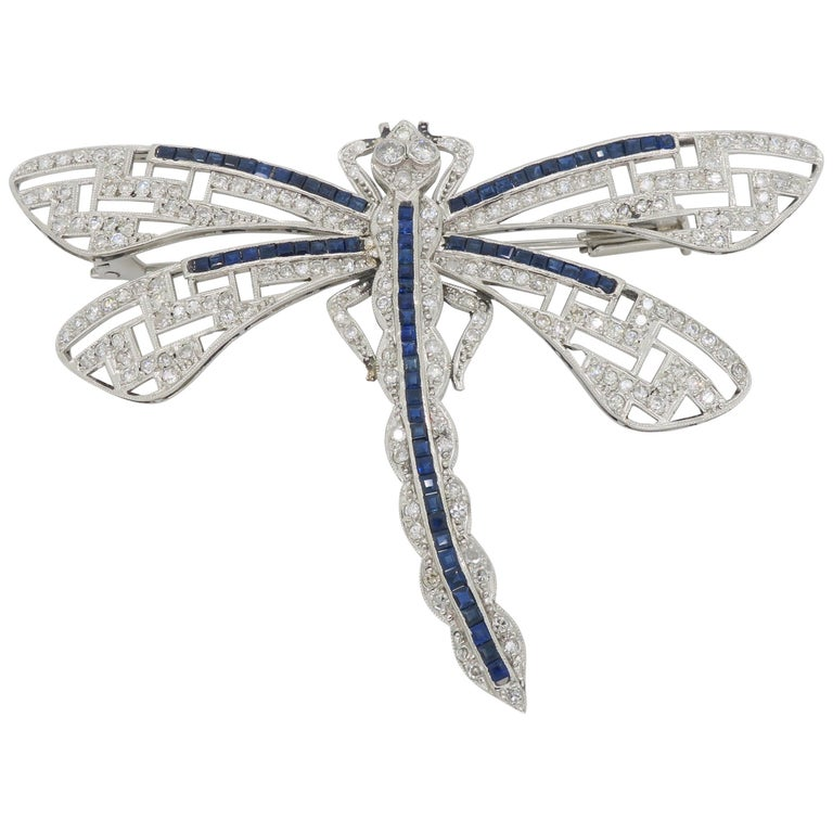 Platinum Diamond and Blue Sapphire Dragon Fly Brooch For Sale