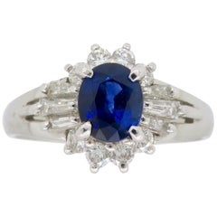 Platinum Diamond and Blue Sapphire Halo Ring