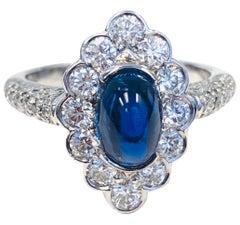 Platinum Diamond and 2.41 Carat Cabochon Sapphire  Ring