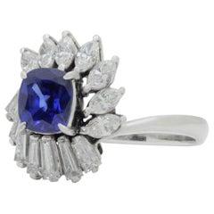 Platinum, Diamond and Cambodian Sapphire Ring