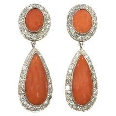 Platinum Diamond and Coral Dangle Earrings