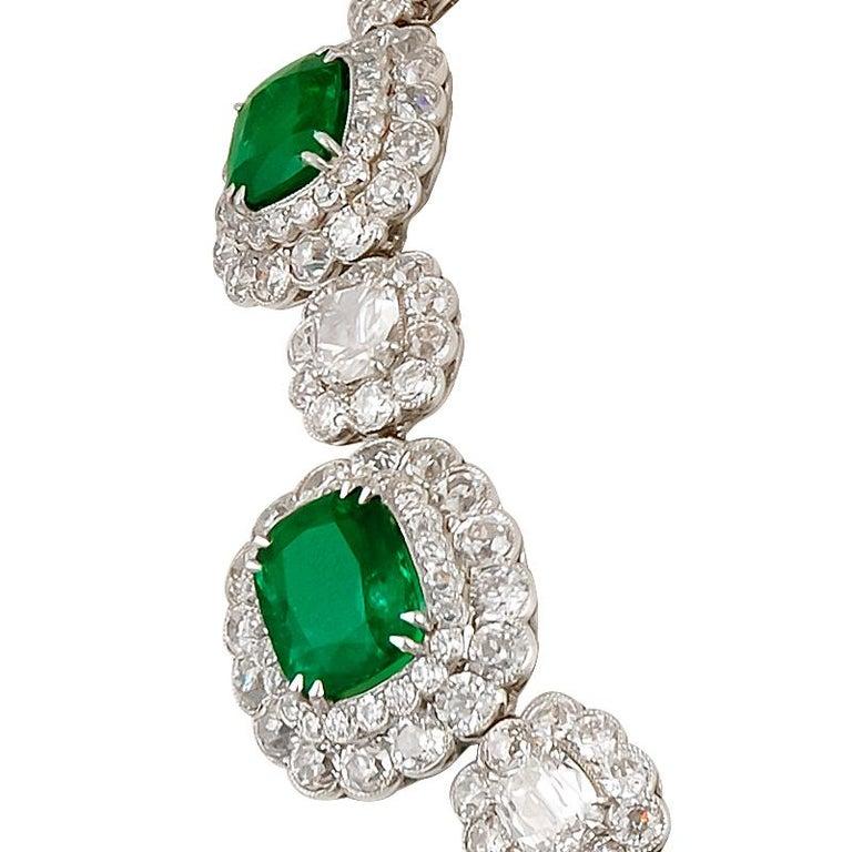 Platinum cushion and round diamonds and emerald necklace. Diamond approx. 61.25 cts. Emerald approx. 43.76 cts.