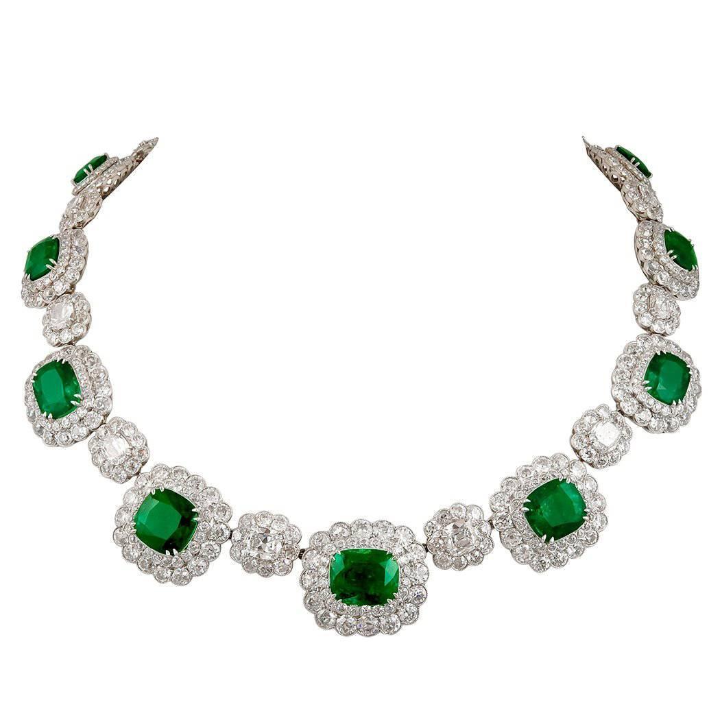 Magnificent Emerald Diamond Cluster Necklace