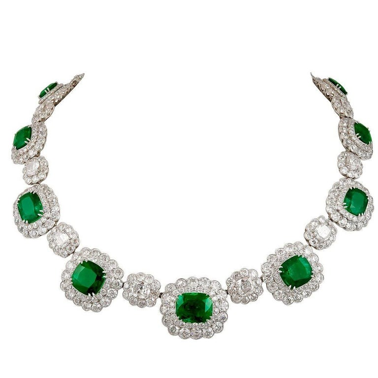 Platinum Diamond and Emerald Necklace For Sale