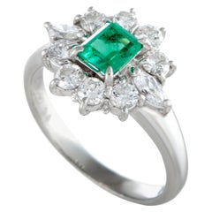 Platinum Diamond and Emerald Oval Ring