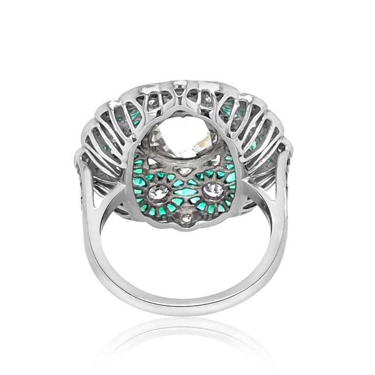 Art Deco Platinum, Diamond and Emerald Ring For Sale