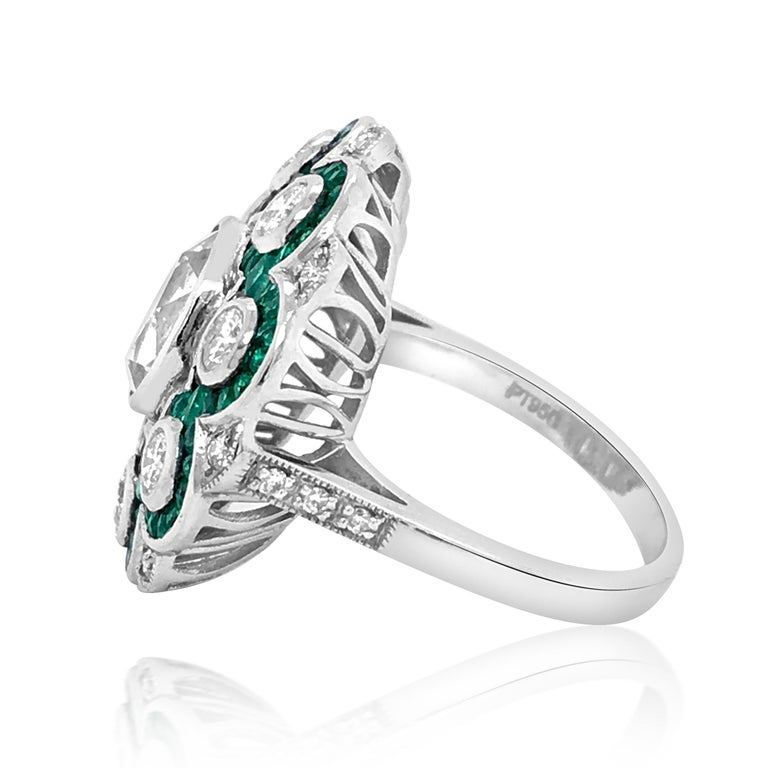 Princess Cut Platinum, Diamond and Emerald Ring For Sale