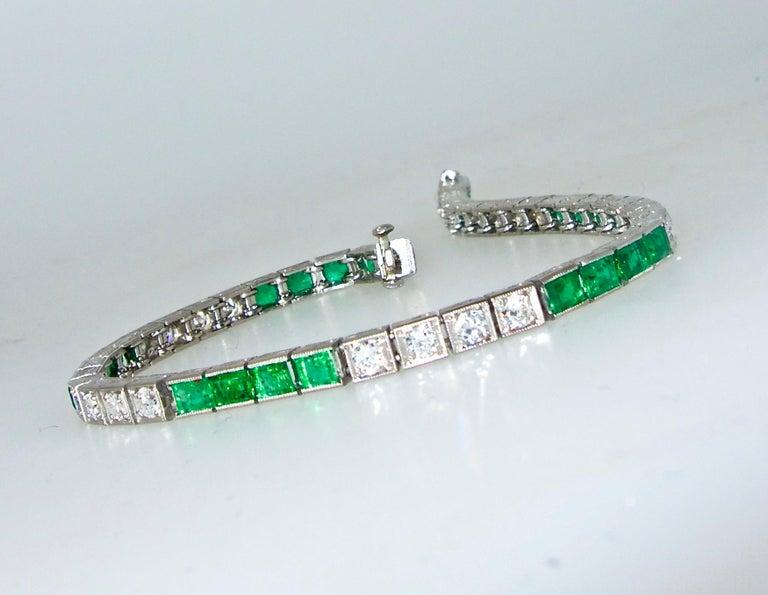 Platinum, Diamond and Emerald Straight-Line Bracelet, circa 1935 2