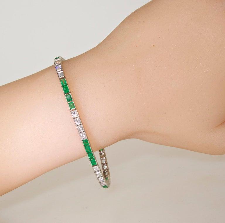 Platinum, Diamond and Emerald Straight-Line Bracelet, circa 1935 4