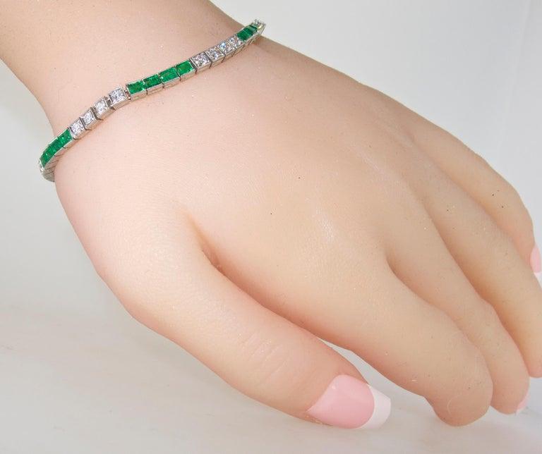 Platinum, Diamond and Emerald Straight-Line Bracelet, circa 1935 5