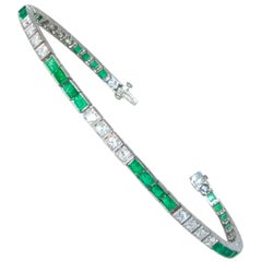 Platinum, Diamond and Emerald Straight-Line Bracelet, circa 1935