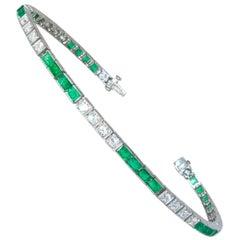 Platin, Diamant und Smaragd geradlinige Armband, ca. 1935