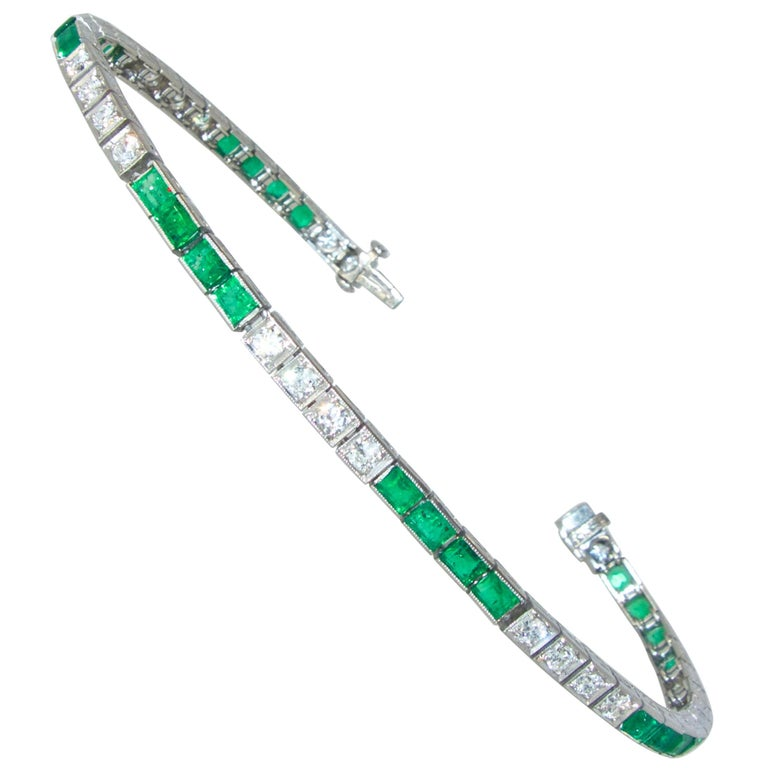 Platinum, Diamond and Emerald Straight-Line Bracelet, circa 1935 1