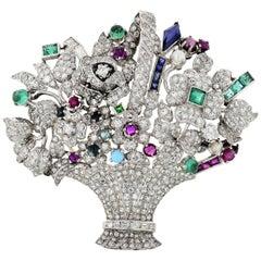 Platinum Diamond and Gemstone Flower Basket 1950s Brooch