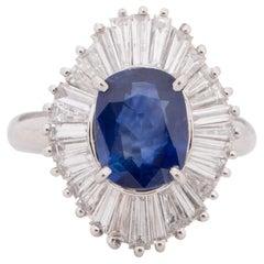 Platinum Diamond and GIA Certified Madagascar Sapphire Ballerina Statement Ring