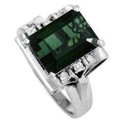 Platinum Diamond and Green Tourmaline Rectangle Ring