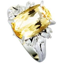 Platinum Diamond and Imperial Topaz Ring