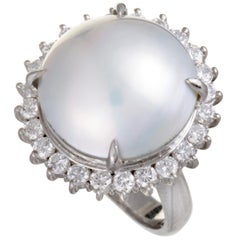 Platinum Diamond and Mabe Pearl Ring