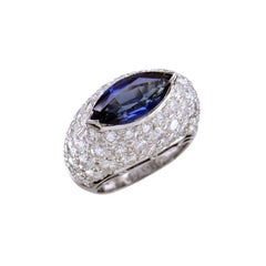 Hammerman Brothers Platinum Diamond and Marquise Sapphire Ring