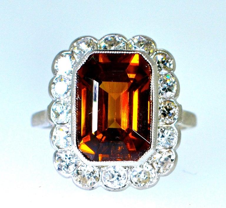 Platinum, Diamond and Natural Emerald Cut Zircon Ring, circa 1919 For Sale 5