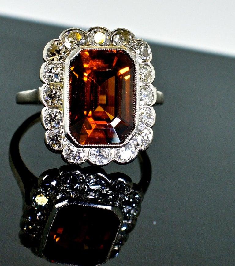 Edwardian Platinum, Diamond and Natural Emerald Cut Zircon Ring, circa 1919 For Sale